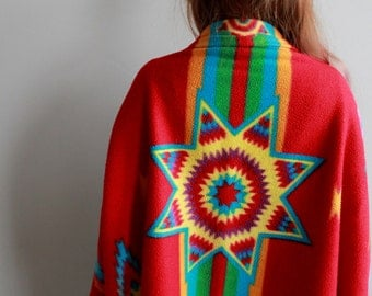 Colorful Native Bohemian Dreamer Fleece Star Festival Jacket Shawl Sweater Shrug Batwing Kimono Sleeves Womens One Size Fits Most