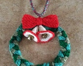 made for wearing mini crochet bells and bow wreath necklace for sale