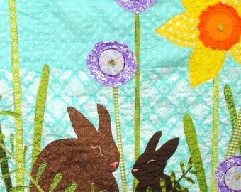 "baby quilt- wall art quilt- ""Spring Morning"" with mother and baby rabbit in a Spring garden- daffodils, ferns, purple flowers MADE TO ORDER"