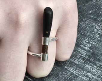 Unique Sterling Silver ring with Leather and ebony, Hand made sterling silver Men's Ring