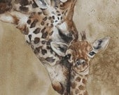 baby giraffe print of Giraffe Nursery art Giraffe print Nursery Giraffe art PRINT Giraffe watercolor giraffe painting nuetral shower decor