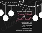 Vintage Paper Lanterns - Custom Rehearsal Dinner, Wedding, Bridal, Baby Shower, Engagement Party Invitation - Black and White