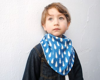 Organic Winter Scarf for Toddler Boys- Bandana Bib Scarf with Winter Trees in Blue - Eco Friendly Kids Accessory