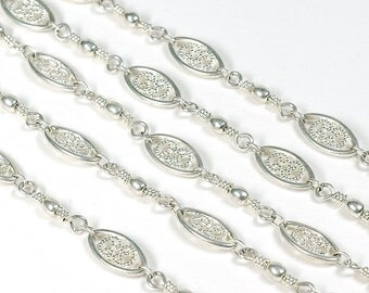 18 inches Bright SILVER Plated Chain, Filigree Chain, 11x6 links bulk chain, wholesale, bright silver,  large link chain