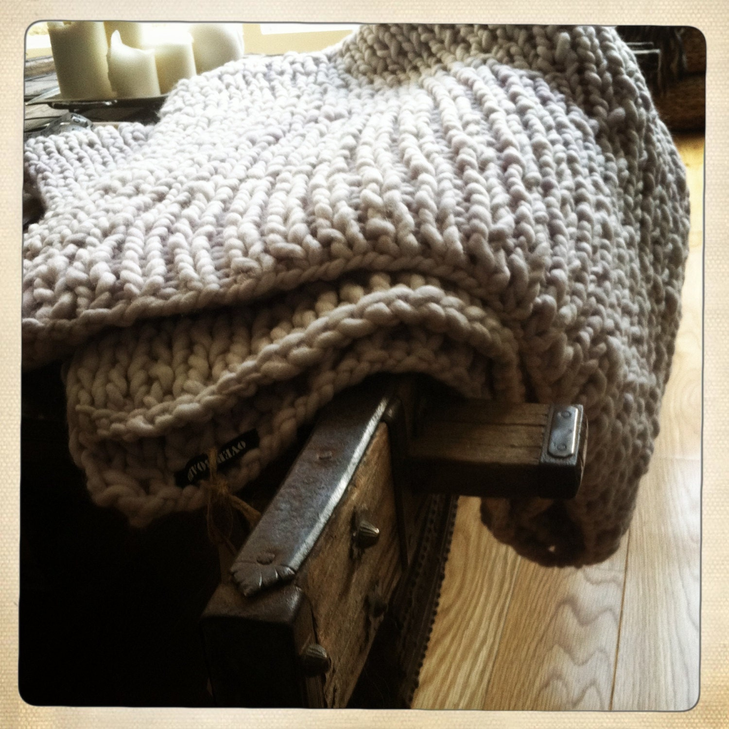 Hand Knitting Blankets : Hand knit super chunky blanket throw by overboard on etsy