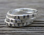ONE 2mm  fine silver stacking ring- hand stamped with your choice of phrase-words personalized stacker ring.