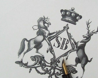 Personalized Horse Stag Family Crest Note Cards Equestrian Stationery Vintage Inspired Royal Black Ivory Notecards 10 Monogrammed Deer Crown