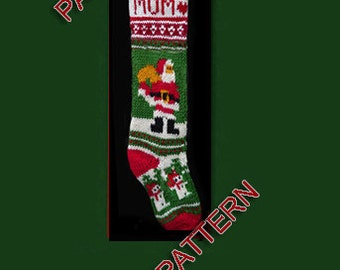Hand knit Christmas stocking,  pattern only, Santa Claus, snowmen and snowflakes