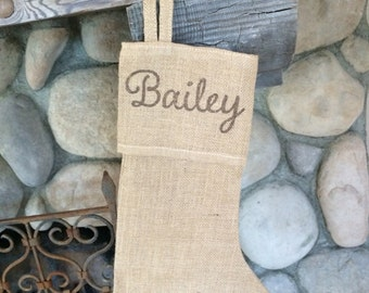 Custom Burlap Stocking with name or Initial