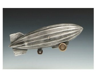 "Dirigible Airship, Coin Bank, Cast Aluminum with Bronze Trim, 14"" long"