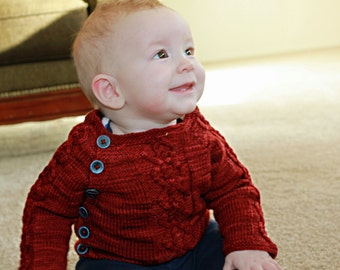 Knit Cabled Baby Sweater Pattern