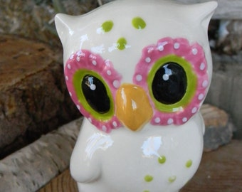 Ceramic Owl   White Vintage styled   Fuchsia Lime Green Trimmings    Pottery  Glazed Love Owl Figurine