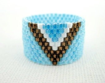 Peyote Ring  / Beaded Ring in Blue, White and Brown / Seed Bead  Ring / Delica Band / Custom Ring/ Size  5, 6, 7, 8, 9, 10, 11, 12, 13