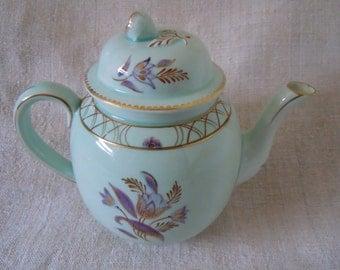 CalyxWare Handpainted Floral ENGLISH TEAPOT Porcelain Cottage Home Style Farmhouse Home Decor