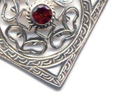 Sterling Silver Mandala, Nepal Mandala, Buddhist Necklace,Tibet Mandala Necklace, Garnet Mandala, Handmade Nepal Jewelry by AnnaArt72