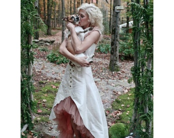 Wedding Dress Silk and Lace woodland Ivory white haute couture handmade fashion