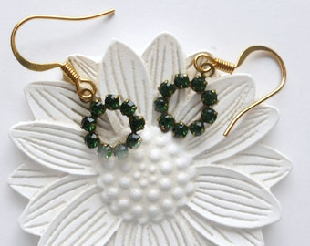 Green Tourmaline Color Earrings, Swarovski Crystals