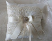 Wedding Ring Bearer Pillow Ivory Lace  And Ivory Satin  Ringbearer Pillow
