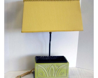 Oriental Style Lamp With Planter Base Green Yellow Vintage Mid Century 1960s Mad Men