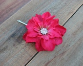 Small Hot Pink Silk Flower Fascinator Hair Pin Wedding Bridal Floral Head Piece Bridesmaid Clip Rhinestone Crystal Corsage Brooch