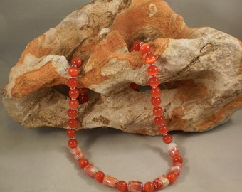 Dark Orange Cat Eye Glass And Lampwork Glass Beaded Necklace