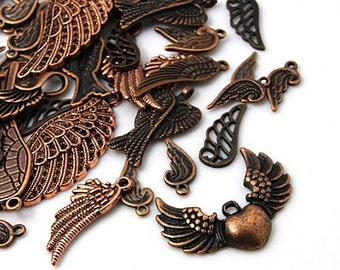 Antique Copper Wing Mix - Set of 20 charms - #ACW100