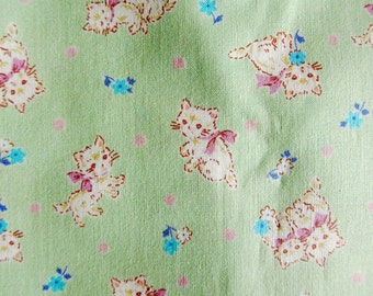 Japanese Fabric - Sweet Kittens on Baby Green Fabric - Fat Quarter - Kokka Fabric From Japan LIMITED YARDAGE
