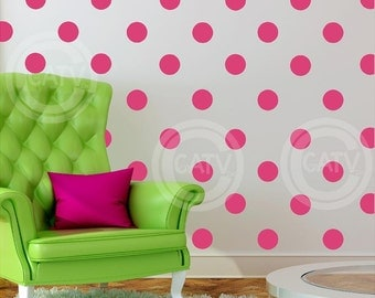 "Vinyl Dots 4"" set of 48 YOU CHOOSE COLOR Vinyl Polka Dot circle decal sticker wall art lettering"