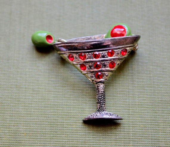 dirty martini glass necklace