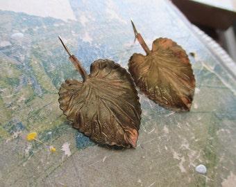 The Ashley Earrings - Vintage Metal Leaf Earrings