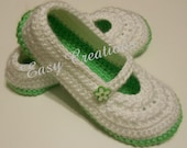 CROCHET PATTERN Little Girl Mary Jane Slippers Girls Star Stitch skill level intermediate