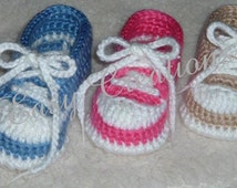 PDF CROCHET PATTERN   Baby Baseball Tennis Shoes Pattern sizes 0 to 12 mos. Baby Boy or Girl Booties Digital