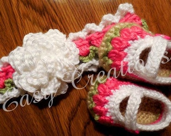 CROCHET PATTERN Baby Mary Jane Shoes Tulip booties Headband Combo Set skill level intermediate