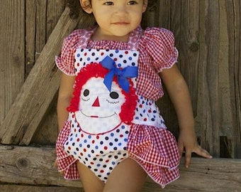 Custom Polka Dot and Gingham Raggedy Ann Ruffle Bottom Romper with M2M Gingham Peasant Top Infants, toddler Size 0 to 5t