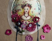 waiting for spring - silk  brooch with crocheted lace flowers and silver wire embroidery - art to wear