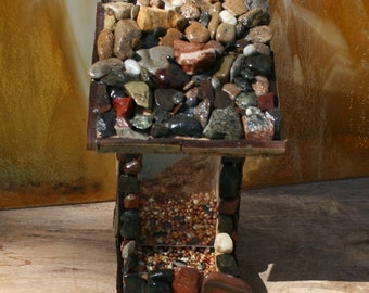 Post Mount Bird Feeder Stone & Bark Covered   Functional Yard Art Bird Lovers Gift