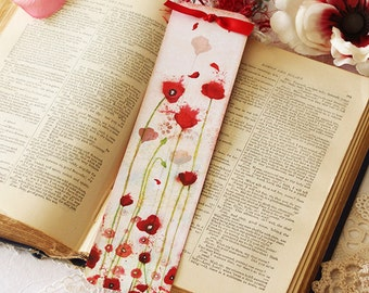 Bookmark - Bookmark with fibers - Poppy - Reading - Book - Poppies