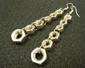 Stainless Steel Hexnut Earrings - Long