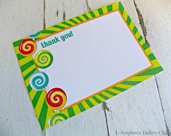 Candy Thank Yous...Set of 10 Thank You Notes