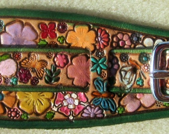 IPod Nano Made in GA USA Leather Watch Band or Wrist Band Cuff with Flower Garden Design with Green Border Custom Sized