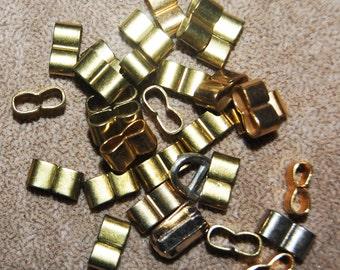 Vintage 10 Brass End Clips 13x7x6mm N5R