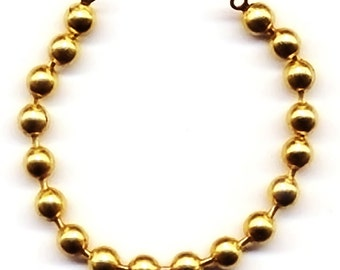 Vintage 6 All Brass 6mm Ball 6 Inch Long Bracelet Starters with Loop Ends K3R