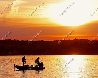 Scenic Sunset Anglers, Honeoye Lake, NY Original Fishing Fine Art Photography Print