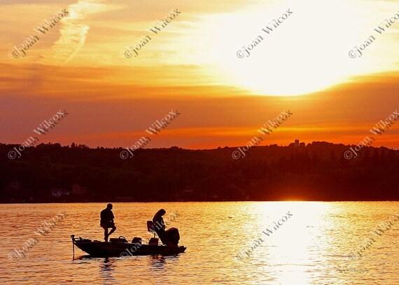 Scenic Sunset Anglers, Honeoye Lake, NY Original Fishing Fine Art Photography Print