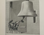 1913 Set of 3 Dog Prints, Vintage Family Pets, Dog rings bell