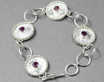 Textured Sterling Silver and Ruby Link Bracelet