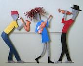 Music art metal Wall Art Music Decor Jazz Trio Sax Trumpet Guitar Band Wall Art Sculpture  By Frivolous Tendencies