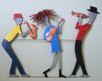 Metal Wall Art Musician Trio Wall Sculpture Guitar Sax Trumpet Jazz Trio Male Female Yellow Red Blue Whimsical Wall Hanging 18 x 25