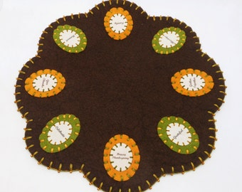 Wool Felt Thanksgiving Word Penny Rug with Beading - 13""
