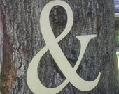 """Large 18"""" tall wooden """"&"""" sign wedding / home decor or photo prop"""